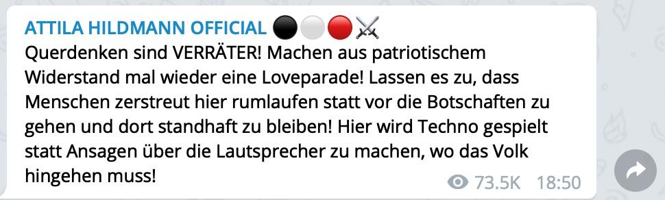 Hildmann gegen Querdenker; Screenshot Telegram