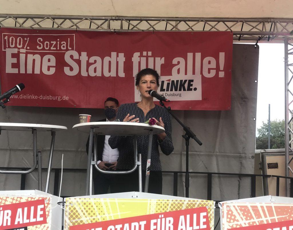Endlich mal was los in Duisburg: Sahra Wagenknecht war zu Gast; Foto: Peter Ansmann