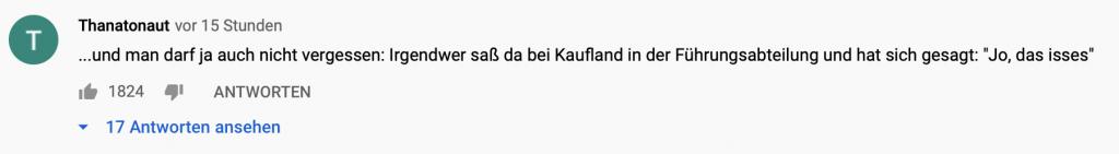 Kommentar auf YouTube zu dem mittlerweile entfernten Video; Screenshot