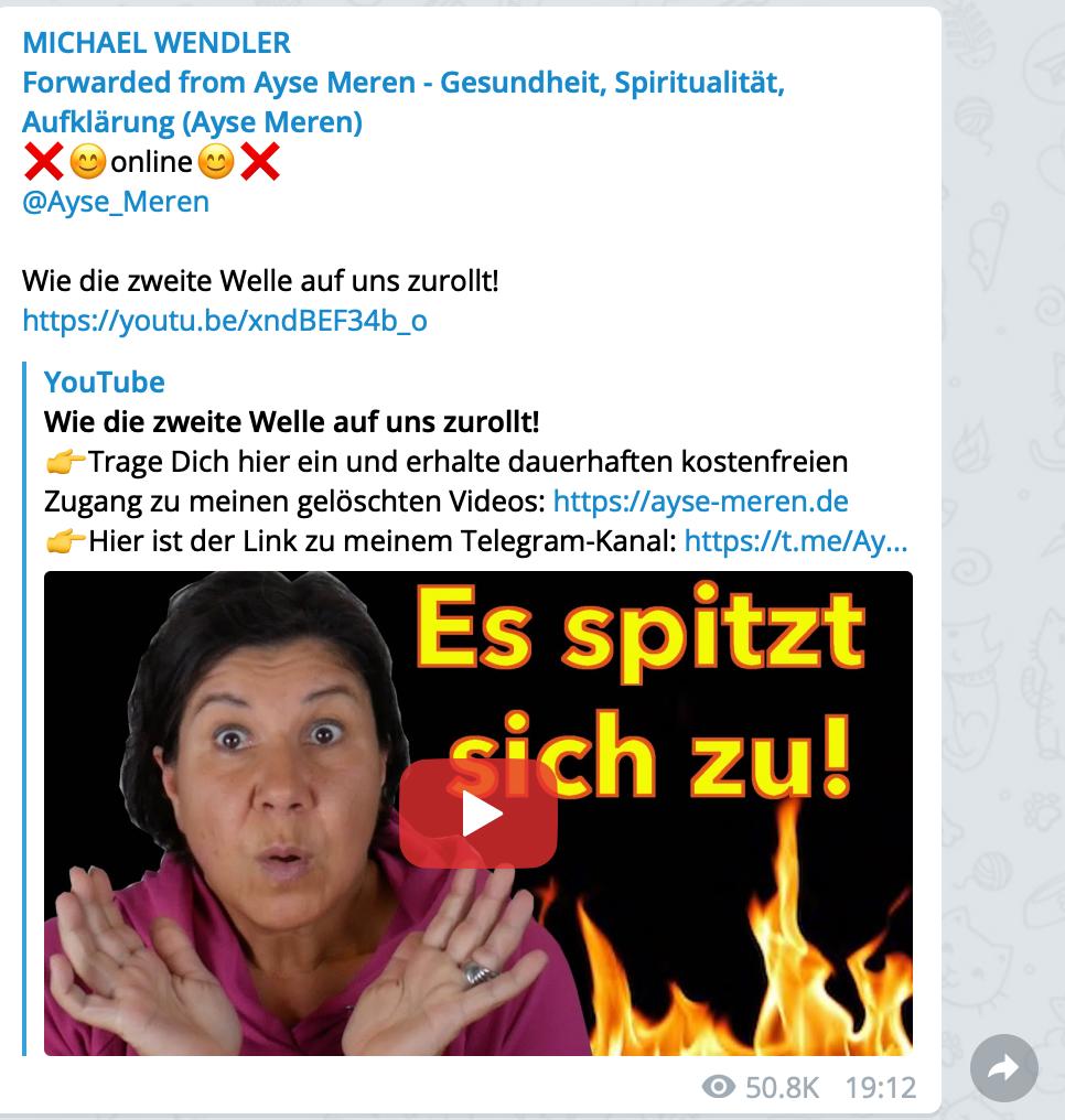 """""""Heilpraktikerin"""" und Fake-News-Schleuder: Ayse Meren; Screenshot"""
