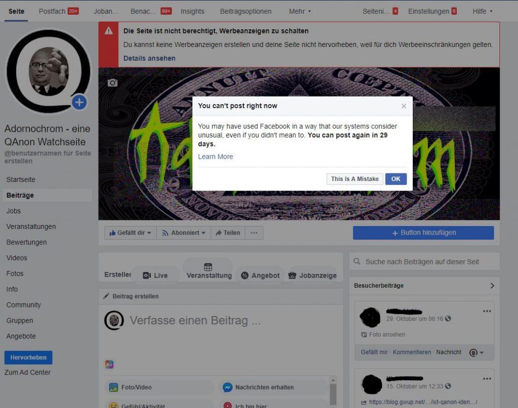 Erneut gesperrt: Adornochrom - eine QAnon-Watchseite ; Screenshot