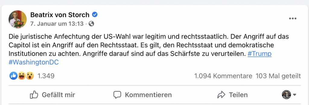 Beatrix von Storch, jetzt auf einmal pro Demokratie; Screenshot Facebook