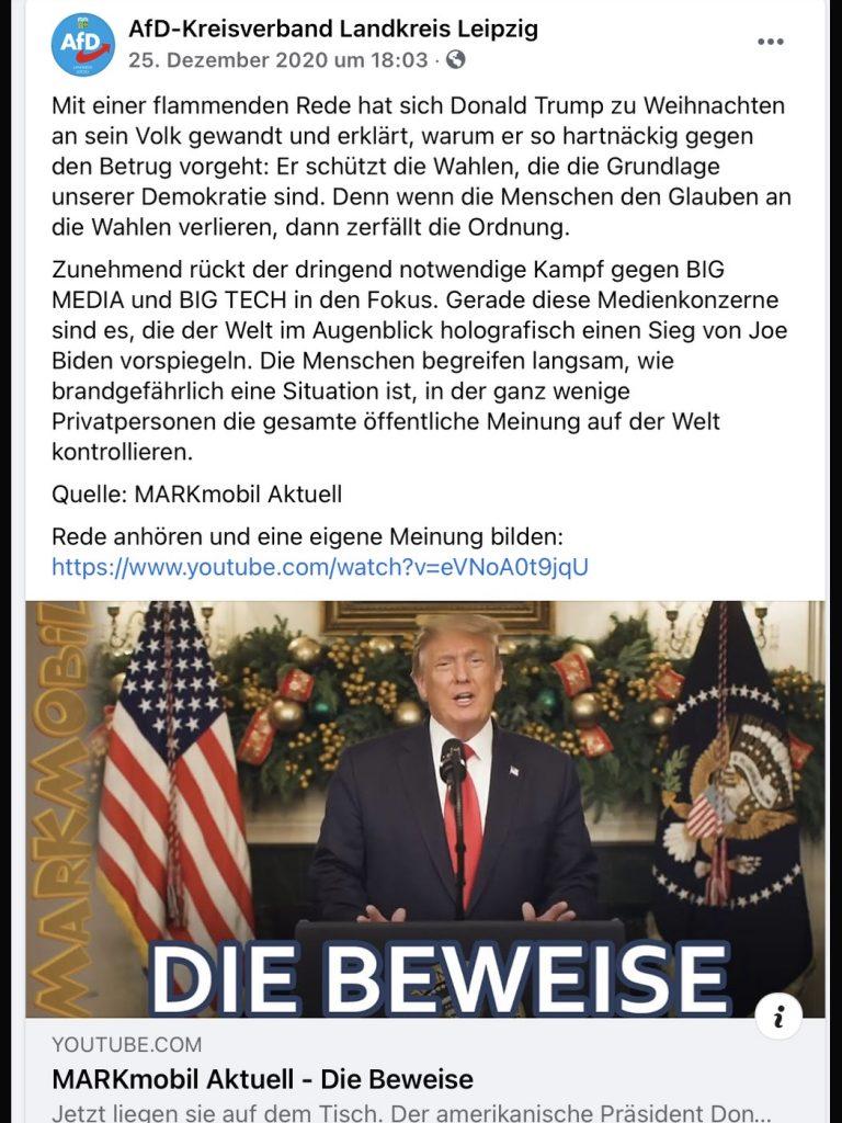 Toleriert durch die Bundes-AfD: Verschwörungstheorien der besonderen Art; Screenshot Facebook