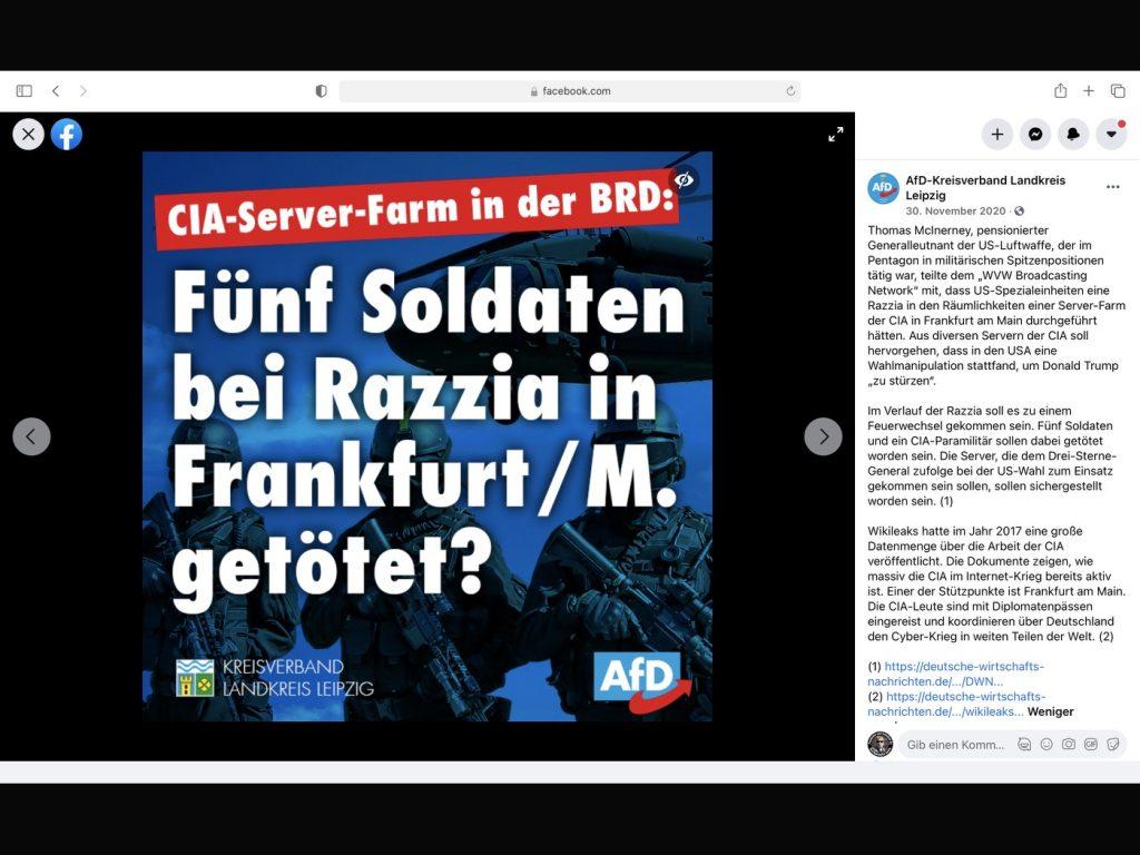"""100% Fake-News auf der Facebook-Seite der """"AfD Kreisverband Landreis Leipzig""""; Screenshot Facebook"""