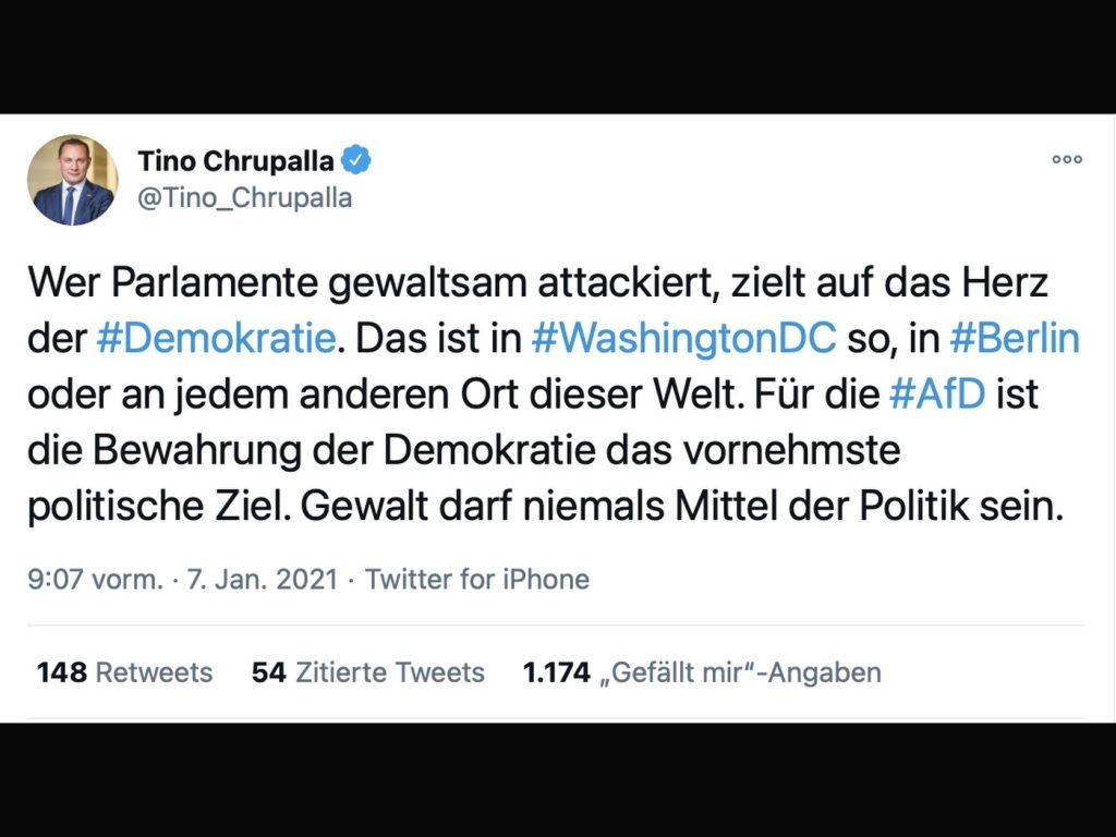 Mediale Nebelkerzen bei der AfD; Screenshot Twitter