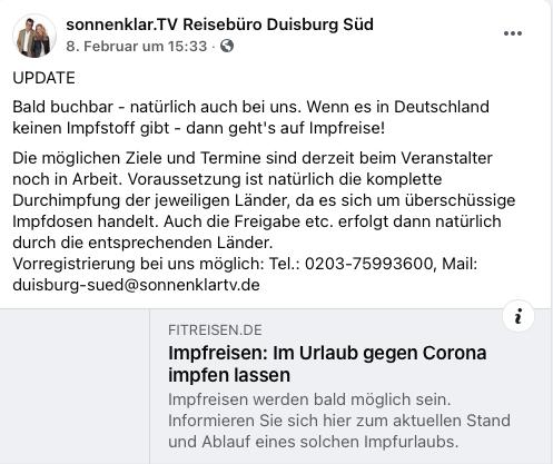 Wenn es in Deutschland keinen Impfstoff gibt - dann geht's auf Impfreise; Screenshot Facebook
