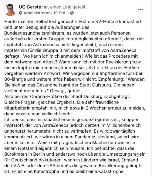 Impfchaos in Deutschland: Der Schwarze Peter liegt nicht bei der Stadt; Screenshot Facebook