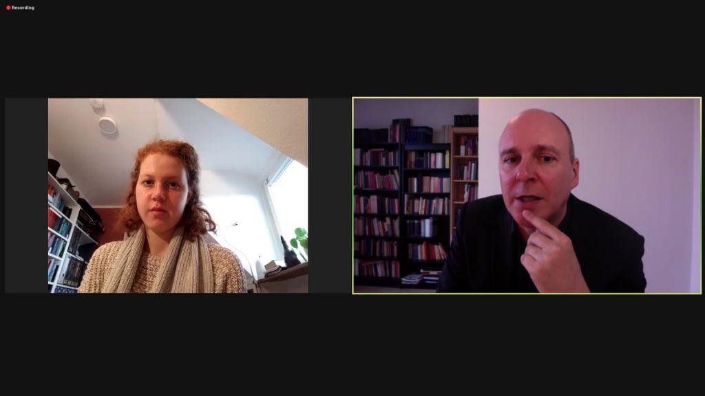 Isabel Lutfullin und Dr. Stephan Grigat; Screenshot Zoom