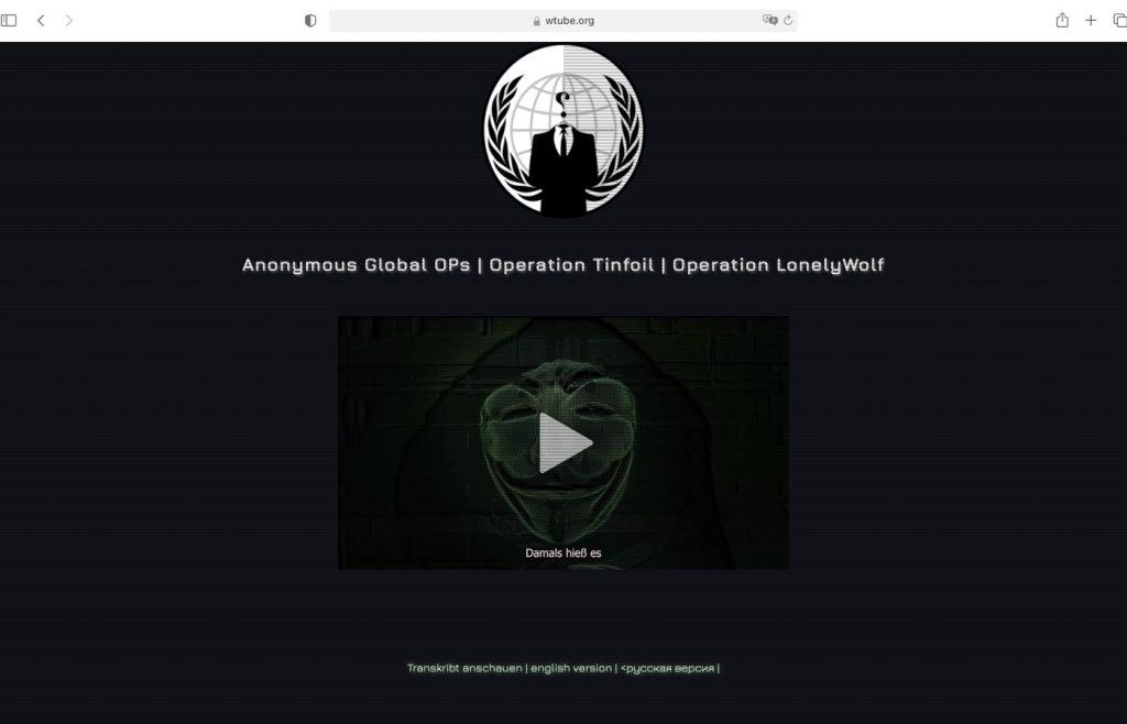 Feindliche Übernahme von WTUBE.ORG; Screenshot
