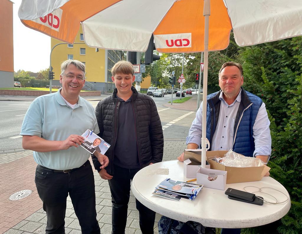 Peter Ibe, Carl-Aurel-Ibe und Thomas Mahlberg: Wahlkampf bis zum Schluss für die CDU in Duisburg